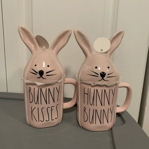PRICE FIRM 2 New Rae Dunn Easter mugs with topper